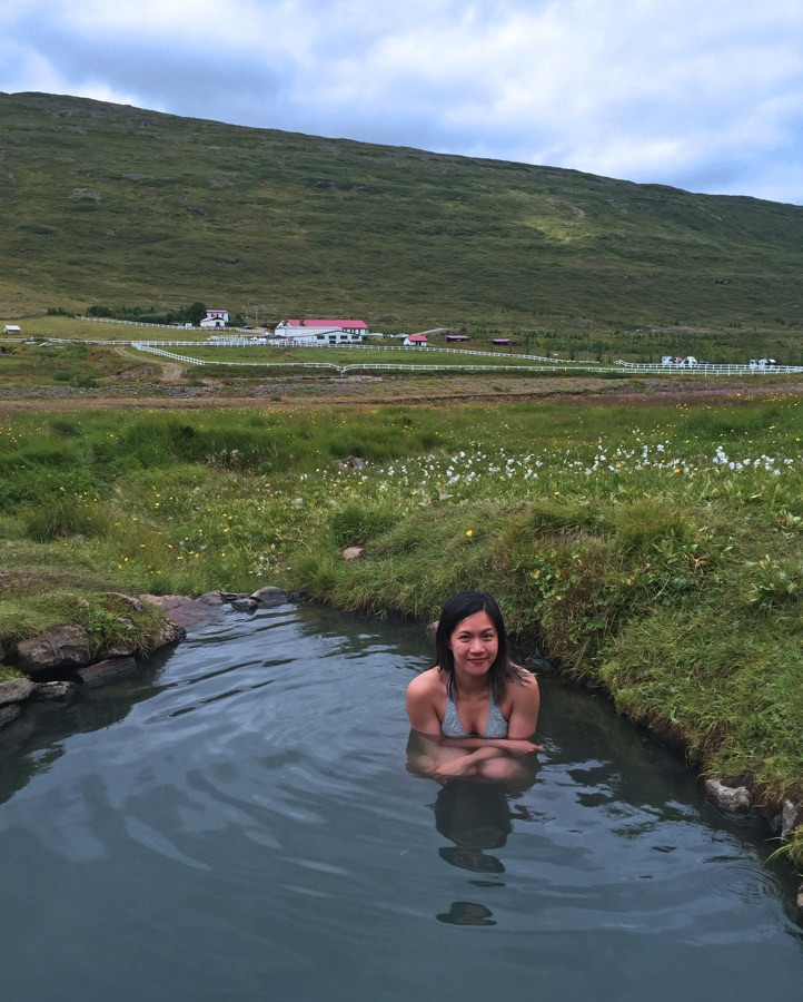 The natural hot spring in Heydalur in the Westfjords